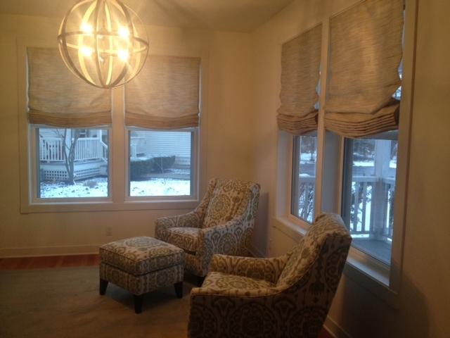 Light fixture emits warm glow to room