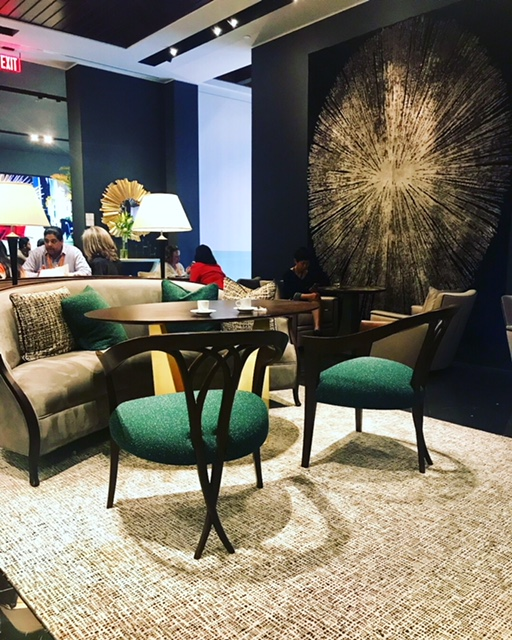 CG emerald chairs and wall rug HPMKT 2018