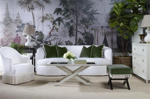 Highland House emerald green accents and white room with mural HPMKT 2018